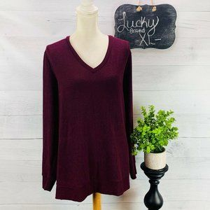 Lucky Brand V Neck Sweater Solid Maroon XL